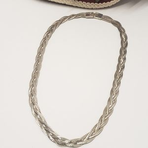 Vintage Silver tone Braided Chain Necklace